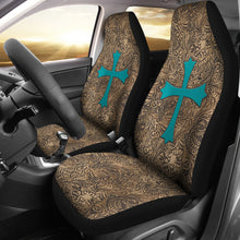 Load image into Gallery viewer, Brown Tooled Leather Design With Turquoise Suede Cross Printed Car Seat Covers Set