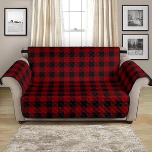 "Red and Black Buffalo Plaid 54"" Loveseat Protector Couch Cover Farmhouse Country Home Decor"