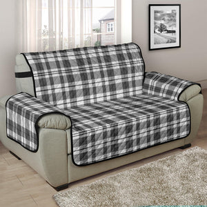 Gray and white Plaid Chair and a Half