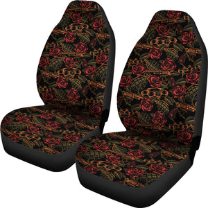 Roses With Grenades, Guns and Brass Knuckles Car Seat Covers Weapons Pattern Seat Protectors