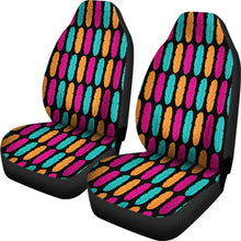 Load image into Gallery viewer, Colorful Boho Feathers on Black Background Car Seat Covers Pink, Teal and Orange