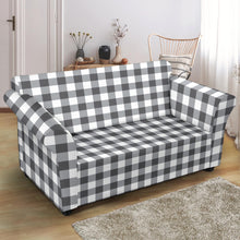 Load image into Gallery viewer, White Gingham Stretch Loveseat Slipcover Protector