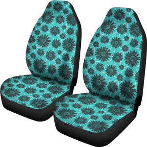 Teal With Gray Daisies Rustic Pattern Car Seat Covers