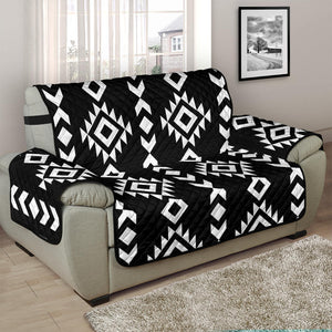 "Black and White Ethnic Tribal Pattern on 48"" Chair and a Half Sized Sofa Protector Couch Slipcover"