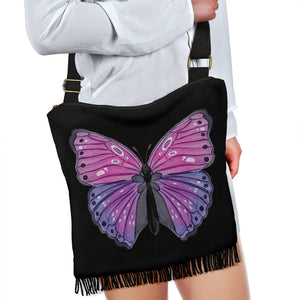 Black With Pink and Purple Watercolor Butterfly Boho Style Bag With Fringe