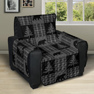 Gray and Black Plaid With Bears and Pine Trees Rustic Patchwork Pattern on Recliner