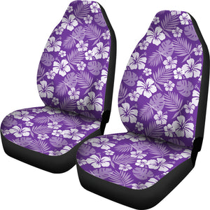 Purple With White Hibiscus Flowers Car Seat Covers Seat protectors Set of 2