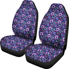 Load image into Gallery viewer, Black With Purple 80's Pattern Car Seat Covers