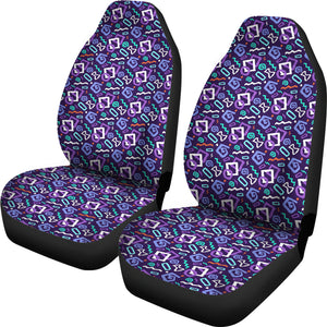 Black With Purple 80's Pattern Car Seat Covers