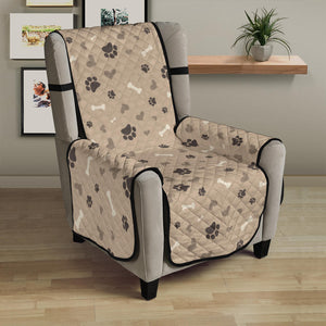 Light Brown Beige With Paw Print Pattern Furniture Slipcovers