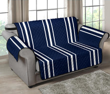 "Load image into Gallery viewer, Navy Blue With White Stripes Loveseat Sofa Protector Slipcover For Up To 54"" Seat Width Couches"