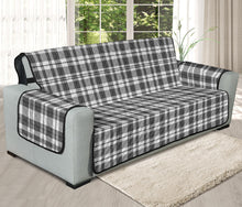 "Load image into Gallery viewer, Gray and White Plaid Pattern On 78"" Seat Width Oversized Sofa Protector Slipcover"