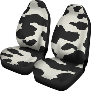 Cow Hide Print Car Seat Covers Black and White Rustic Pattern