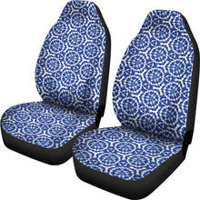 Load image into Gallery viewer, Blue White Shibori Dye Car Seat Covers Abstract Ethnic Boho Pattern