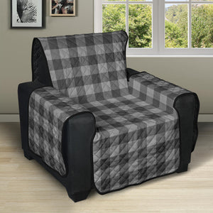 "Gray Buffalo Plaid Recliner Cover 28"" Sofa, Couch, Chair Protector"