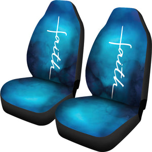 White Faith Word Cross On Blue Ombre Car Seat Covers Religious Christian Themed