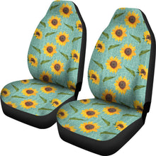 Load image into Gallery viewer, Turquoise Burlap With Sunflowers Car Seat Covers