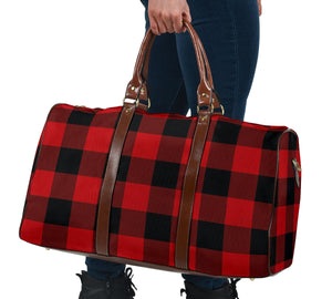 Red and Black Buffalo Plaid Travel Bag, Duffel Bag With Brown Faux Leather Handles