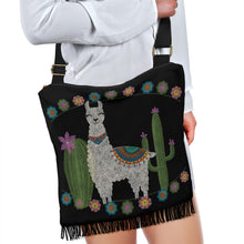 Load image into Gallery viewer, Black With Chalky Style Llama Design Cactus Flowers
