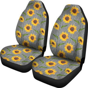Gray Burlap Style Background With Sunflower Pattern Car Seat Covers