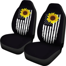 Load image into Gallery viewer, Distressed American Flag With Rustic Sunflower on Black Car Seat Covers