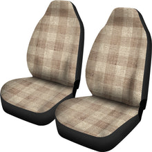 Load image into Gallery viewer, Light Colored Burlap Style Buffalo Plaid Car Seat Covers Seat Protectors