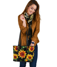 Load image into Gallery viewer, Sunflowers on Black Vegan Leather Tote Bag