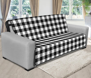 "Black White Buffalo Plaid 70"" Futon Sofa Couch Protector Farmhouse Decor"