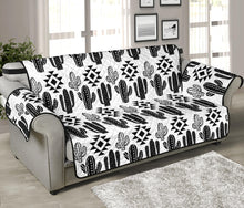 "Load image into Gallery viewer, Black and White Cactus Boho Pattern on Sofa Slipcover For Up to 70"" Seat Width Couches"