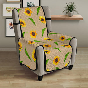 "Tan With Rustic Sunflower Pattern 23"" Chair Sofa Protector Cover Farmhouse Decor"