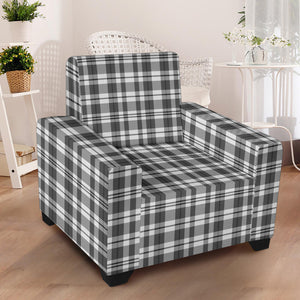 Gray and White Plaid Pattern Stretch Armchair Slipcover Protector