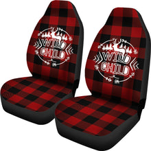 Load image into Gallery viewer, Wild Child on Buffalo Plaid Car Seat Covers