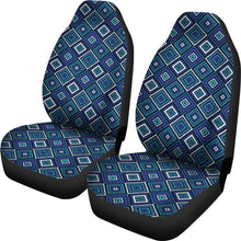 Load image into Gallery viewer, Blue, Teal and Black Geometric Boho Retro Pattern Seat Covers