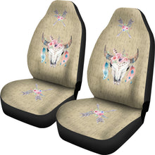 Load image into Gallery viewer, Wild and Free Dark Tan Boho Cow Skull Car Seat Covers