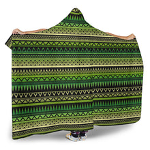 Load image into Gallery viewer, Green With Black Ethnic Tribal Pattern Hooded Blanket With Tan Sherpa Lining