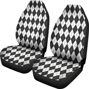 White Charcoal and Slate Colored Argyle Car Seat Covers Preppy Pattern