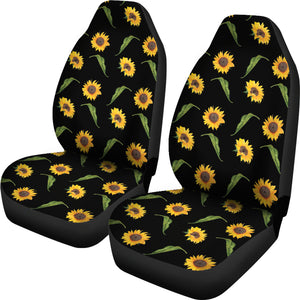 Black With Rustic Sunflower Pattern Car Seat Covers Seat Protectors