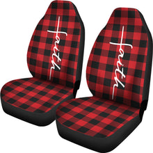 Load image into Gallery viewer, Faith Word Cross In White On Red Buffalo Plaid Car Seat Covers Religious Christian Themed