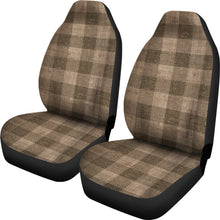 Load image into Gallery viewer, Dark Burlap Buffalo Plaid Car Seat Covers Seat Protectors Rustic Farmhouse