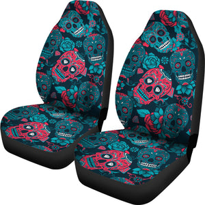 Red & Blue Sugar Skull Car Seat Covers