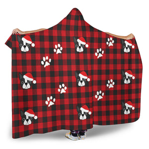 Boston Terrier Santa Hat Hooded Buffalo Plaid Blanket