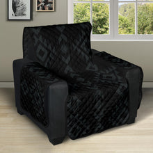 "Load image into Gallery viewer, Black With Gray Ethnic Tribal Pattern on 28"" Seat Width Recliner Protector Slipcover"