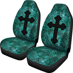 Turquoise Tooled Leather Style Car Seat Covers With Catholic Style Christian Cross