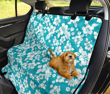 Load image into Gallery viewer, Teal and White Hibiscus Hawaiian Flower Pattern Waterproof Back Seat Protector Cover for Dogs