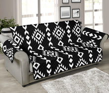 "Load image into Gallery viewer, Black and White Ethnic Tribal Pattern 70"" Sofa Protector Couch Slipcover"