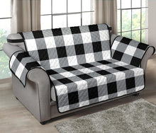 "Load image into Gallery viewer, Buffalo Check Loveseat Slipcover Protector 54"" Seat Width Black, White and Gray"