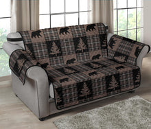 Load image into Gallery viewer, Brown and Black Plaid Lodge Style Patchwork Pattern Loveseat Sofa Slipcover Protector