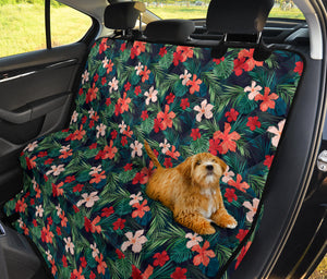 Tropical Flowers in Red and Coral Colored Pattern Pet Back Bench Seat Cover