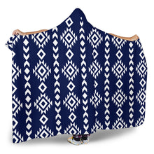 Load image into Gallery viewer, Navy Blue With White Ethnic Tribal Pattern Hooded Blanket With Sherpa Lining