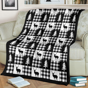 Black and White Buffalo Plaid With Deer and Pine Trees Pattern Fleece Throw Blanket